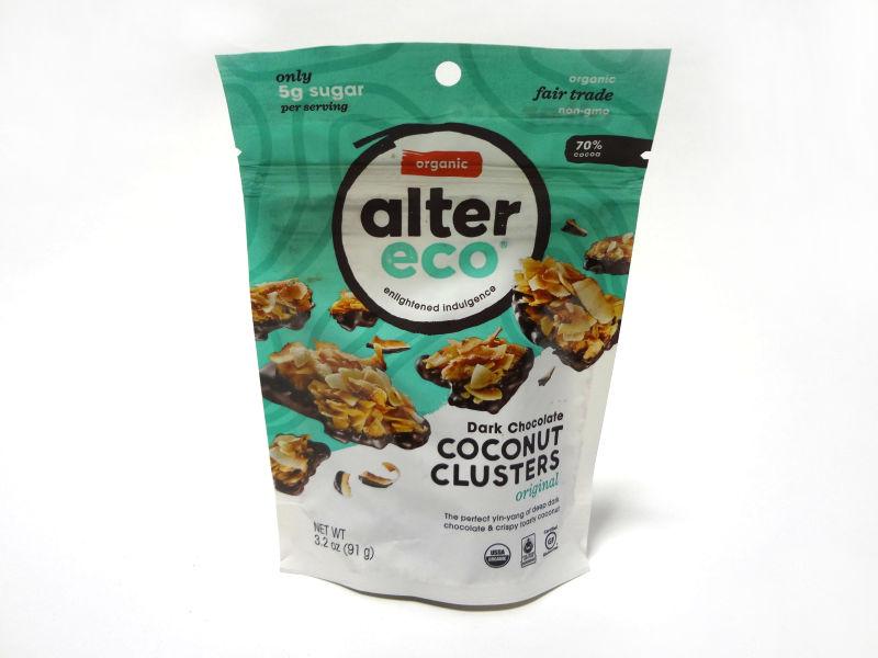 Alter Eco ダークチョコレート ココナッツクラスター オリジナルのパッケージ